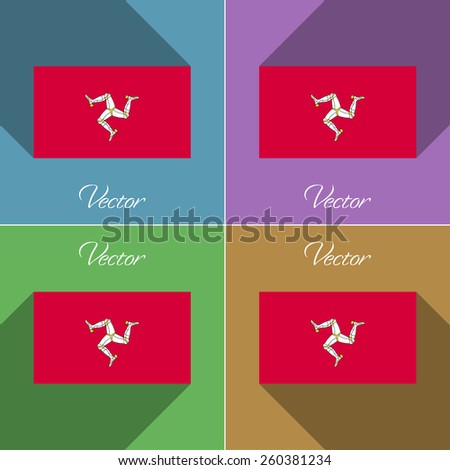 Flags of Isle of man. Set of colors flat design and long shadows. Vector illustration - stock vector
