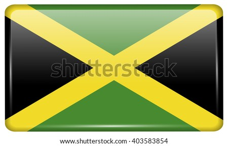 Flags of Jamaica in the form of a magnet on refrigerator with reflections light. Vector illustration - stock vector