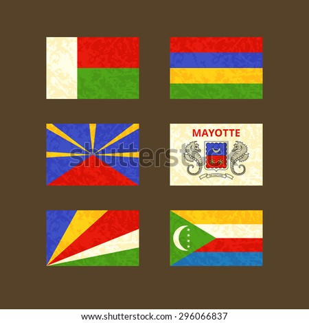 Flags of Madagascar, Reunion, Seychelles, Mauritius, Mayotte and Comoros. Flags with light grunge dirty effect.