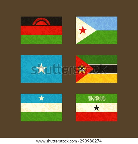 Flags of Malawi, Djibouti, Somalia, Mozambique, Puntland and Somaliland. Flags with light grunge dirty effect. - stock vector