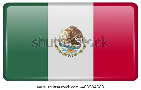 Flags of Mexico in the form of a magnet on refrigerator with reflections light. Vector illustration - stock vector