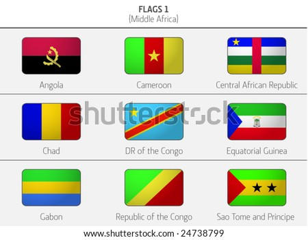 Flags of Middle Africa Countries 1
