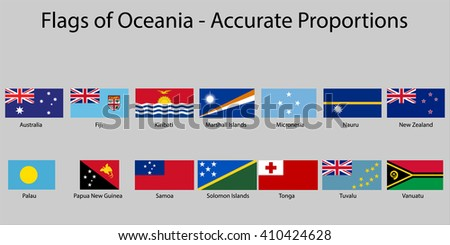 Flags of Oceania with names - Proper Dimensions - stock vector