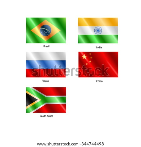 Flags of Russia, China, India, Brazil and South Africa or all the BRICS nations