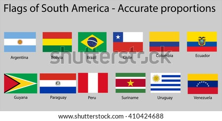 Flags of South America continent with names - Proper Dimensions - stock vector