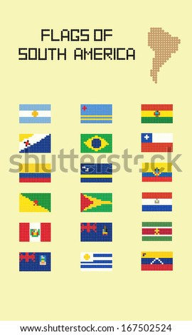 Flags Of South America Made Of Dots vector illustration