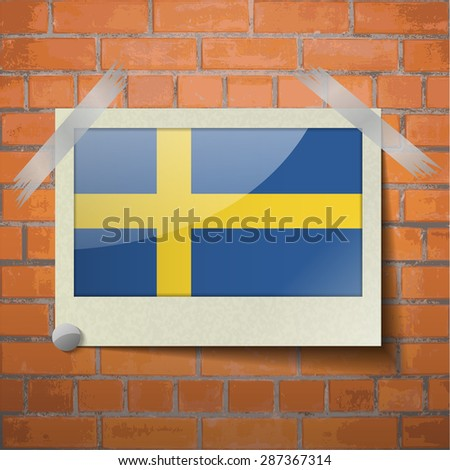 Flags of Sweden scotch taped to a red brick wall. Vector - stock vector