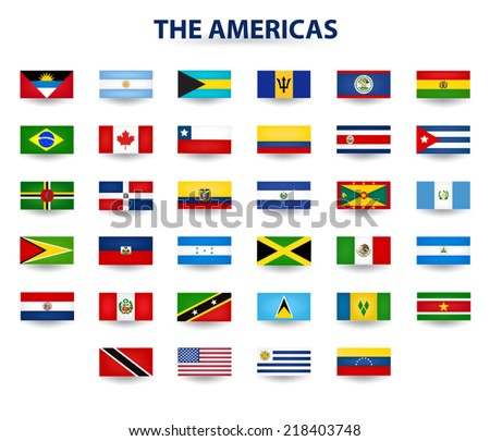 Flags Of The Americas - stock vector