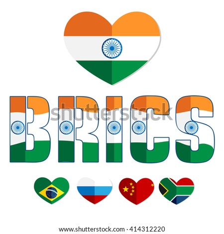 Flags of the B.R.I.C.S. countries in the heart of Brazil, Russia, India, China, South Africa, color flat web icon, website logo, illustrated a color image on an isolated background - stock vector