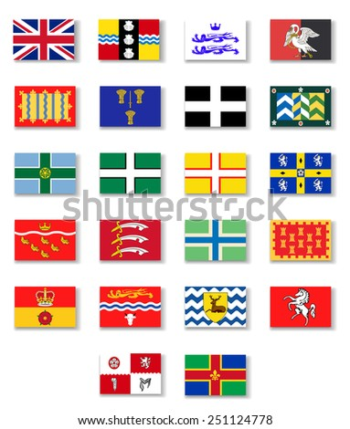 Flags of the counties of England. Set 1.Vector - stock vector