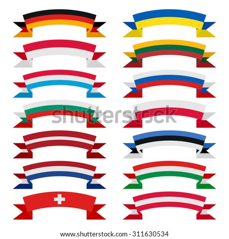 Flags of the countries. Flat ribbons. Europe - stock vector