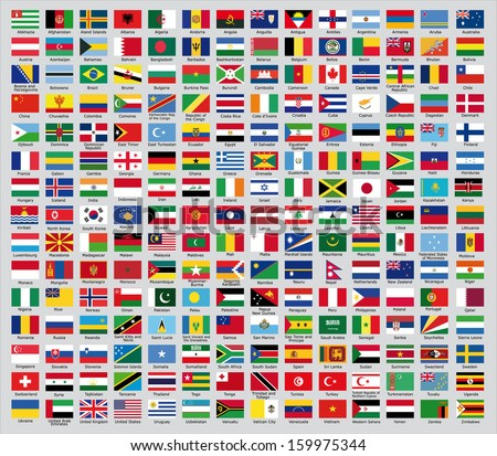 Flags of the countries of the new world - stock vector