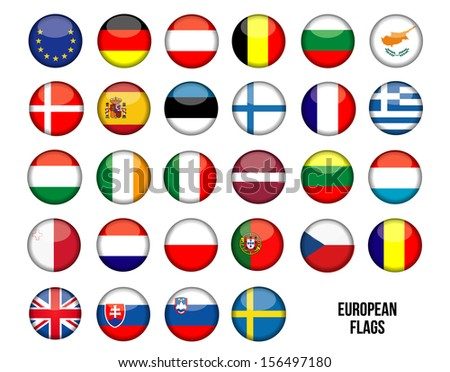 Flags of the 27 European Country - stock vector