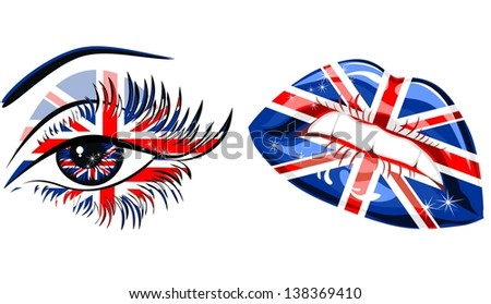 Flags of the Great Britain in beautiful female eye and lips - stock vector