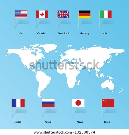 flags of the States of the United States, China, Britain, France, Russia, Canada, Italy, Germany, Japan. Eps10 - stock vector