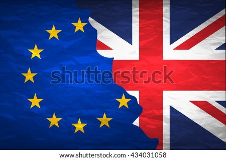 Flags of the United Kingdom and the European Union on crumpled paper background. Vintage effect brexit art - stock vector