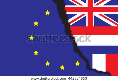 Flags of the United Kingdom,france,netherlands and the European Union with a rift, meaning rupture of United kingdom and European union, vector illustration, BREXIT, NEXIT,FREXIT