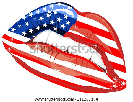 Flags of the USA in sensuality lips - stock vector