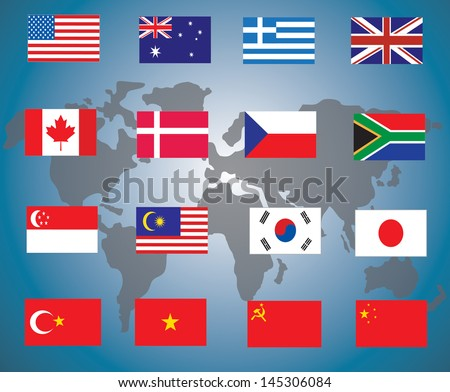 flags of the world against white background, abstract vector art illustration - stock vector