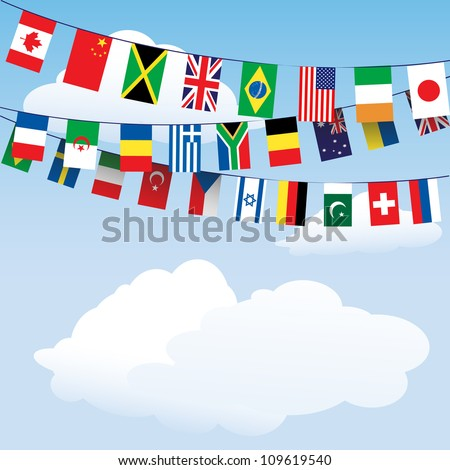 Flags of the World bunting on cloud background with space for your text. EPS10 vector format - stock vector