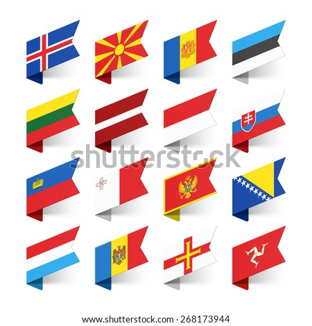 Flags of the World, Europe, set 3 vector illustration  - stock vector