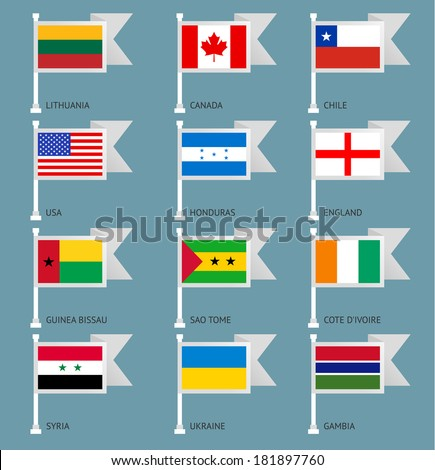 Flags of the world, flat vector illustration. Set number 01 - stock vector