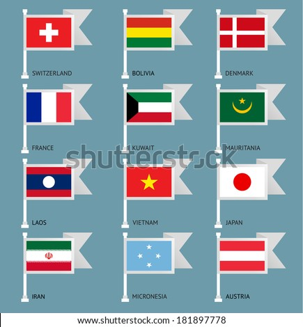 Flags of the world, flat vector illustration. Set number 05