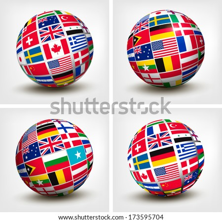 Flags of the world in globe. Vector illustration. - stock vector