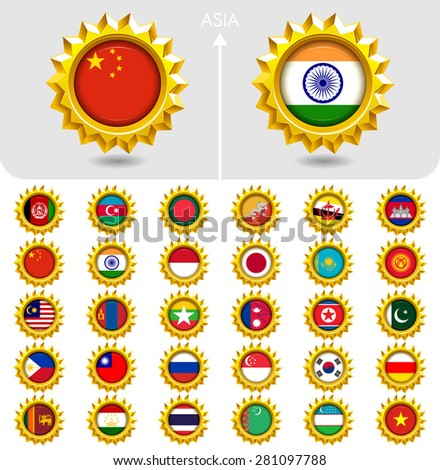 Flags of the world Jewellery collection, golden badges, Asia. Part 3/6 - stock vector