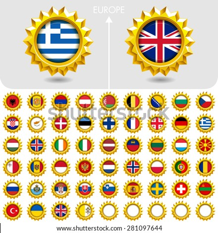 Flags of the world Jewellery collection, golden badges, Europe. Part 2/6 - stock vector