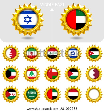 Flags of the world Jewellery collection, golden badges, Middle East. Part 5/6 - stock vector