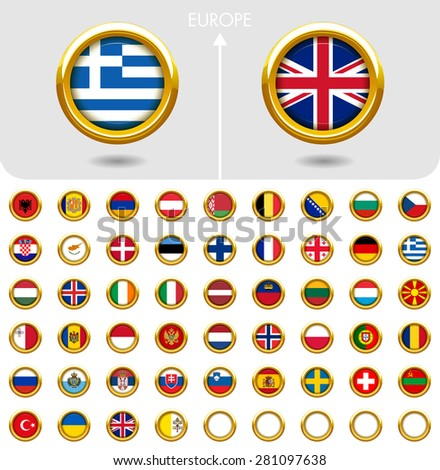 Flags of the world Jewellery collection, golden badges ring shape, Europe. Part 2/6 - stock vector