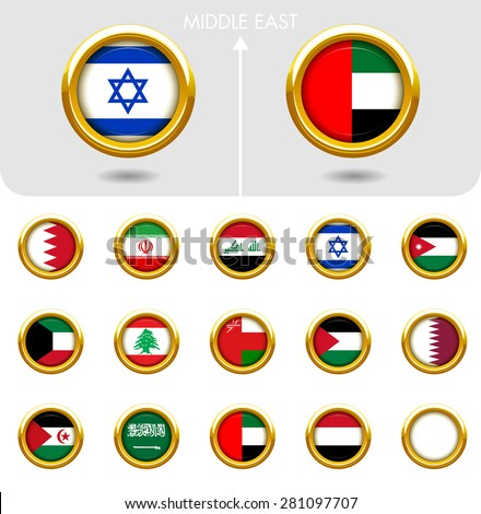 Flags of the world Jewellery collection, golden badges ring shape, Middle East. Part 5/6