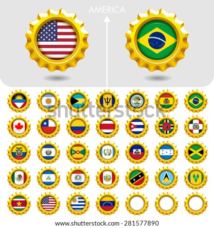 Flags of the world Jewellery collection, golden badges smooth corner shape, AMERICA. Part 1/6 - stock vector