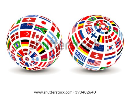 Flags of the world on a globe. Vector design. - stock vector