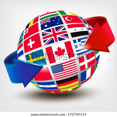 Flags of the world on a globe with an arrow. Vector illustration  - stock vector
