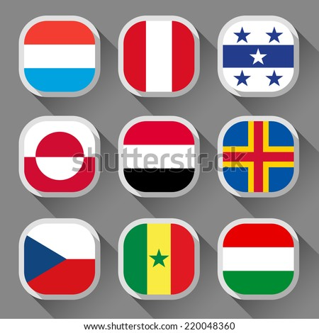Flags of the world, rounded squares with shadow, set 04 - stock vector