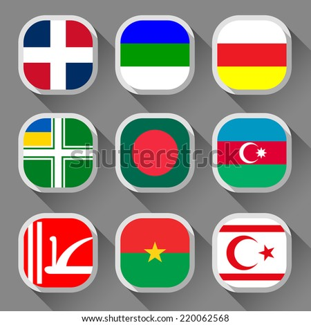 Flags of the world, rounded squares with shadow, set 20 - stock vector