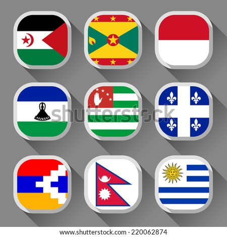 Flags of the world, rounded squares with shadow, set 23