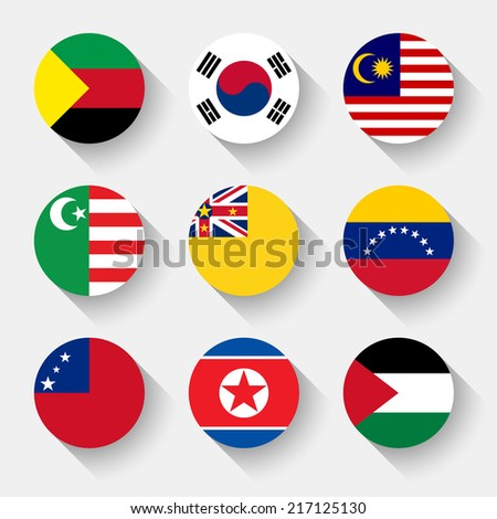 Flags of the world, set 22 with shadow