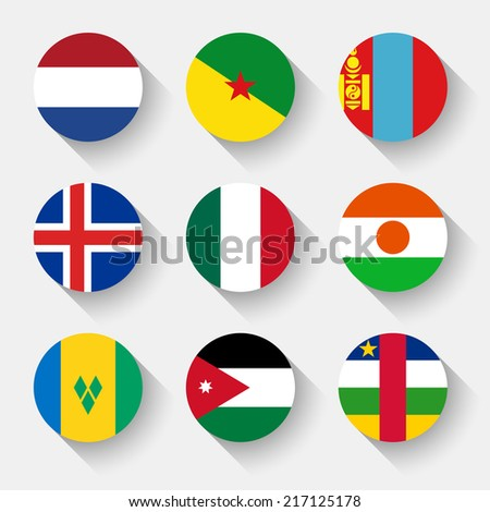 Flags of the world, set 09 with shadow - stock vector