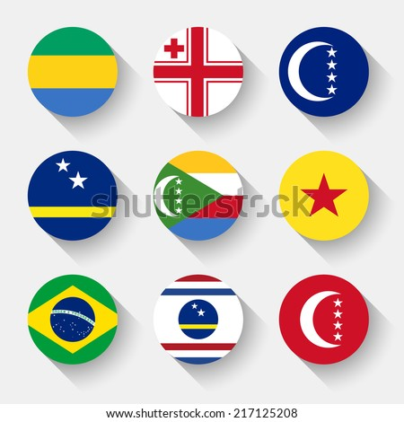 Flags of the world, set 18 with shadow