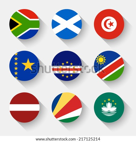 Flags of the world, set 17 with shadow