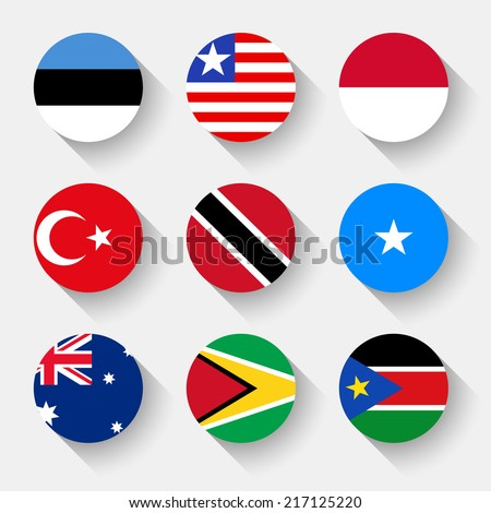 Flags of the world, set 16 with shadow - stock vector