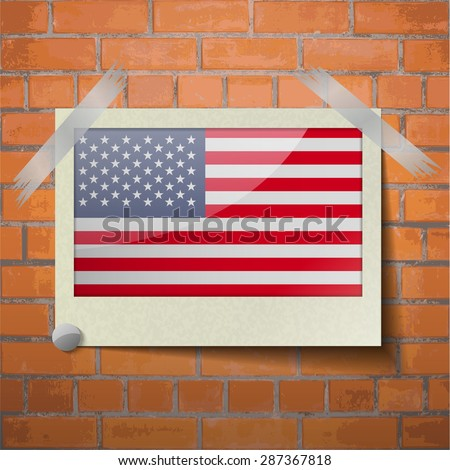 Flags of USA scotch taped to a red brick wall. Vector - stock vector
