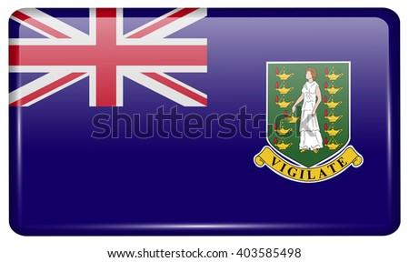 Flags of VirginIslandsUK in the form of a magnet on refrigerator with reflections light. Vector illustration