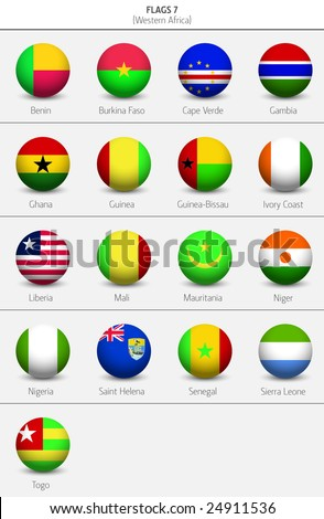 Flags of Western Africa Countries 8 - stock vector