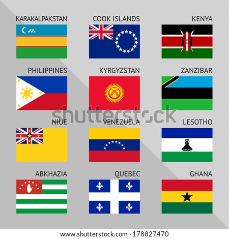 Flags of world, flat vector illustration. Set number 16 - stock vector