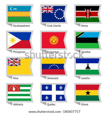 Flags of world, flat vector illustration. Set number 16