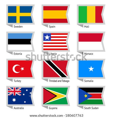 Flags of world, flat vector illustration. Set number 09